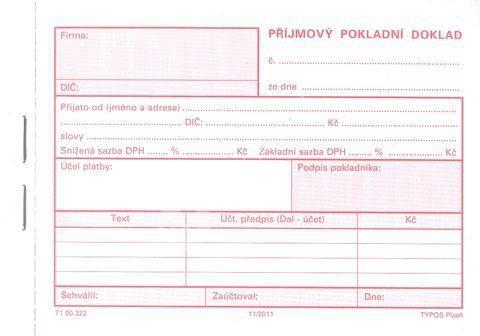 Pokladní doklad příjmový - copy, 50 x2 listy