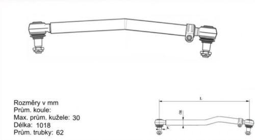 tyč řídící RENAULT 1020 mm