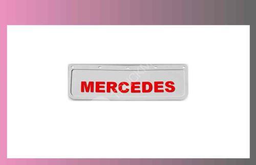zástěra kola MERCEDES 600x180-pár-přední-bílá-červené písmo
