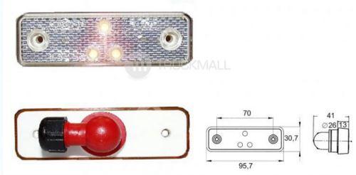 světlo obrys.LED-bílé 24V/0.8W-uhl.přip.
