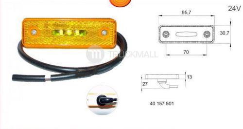světlo LED oranž.24V/0,8W +kabel 0,5m