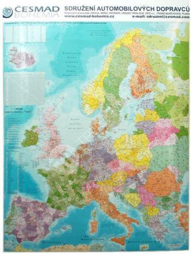 Nástěnná mapa - Evropa s PSČ