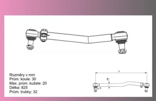 tyč řídící MAN L2000 12.163- L=826mm -CEI