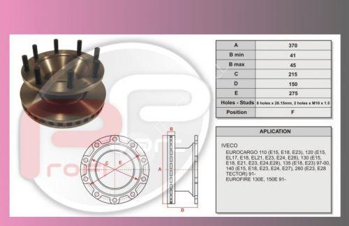 kotouč brzdový IVECO ECARGO 120E-přední