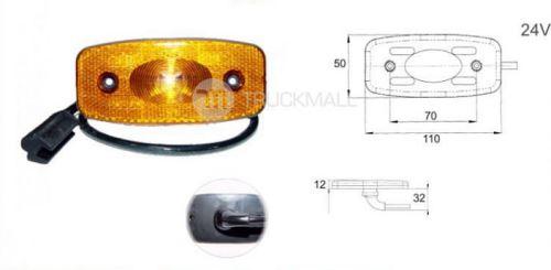 světlo LED oranž. 24V+kabel 0.5m+zástrč
