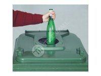 Plastová nádoba s kolečky pro sběr skla, zelená 120l