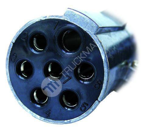 Elektrický kabel 7pramenný, 24 V spirálový se zástrčkami z lehkého kovu - N (dutinka)