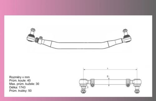 tyč spojovací SCANIA 124,144--1743mm