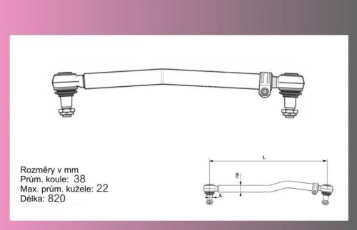 tyč řídící MAN TGL- L=820mm-