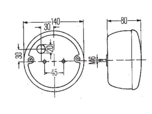 lampa zadní LED-kulatá-24V