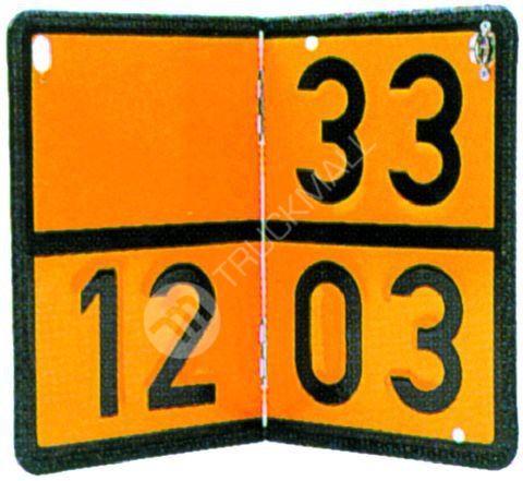 Tabulka ADR jednoúčelová s lisovanými čísly, skládací