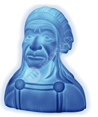 Soška INDIÁN 24V modrá LED