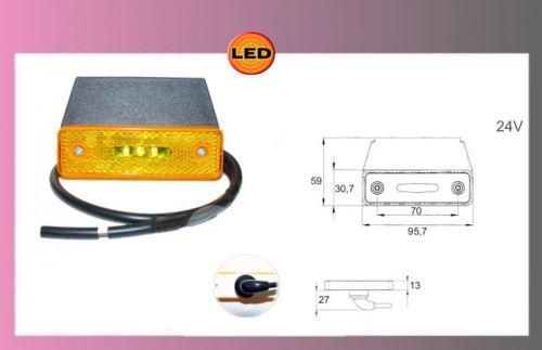 světlo LED oranž.24V/0,8W +kabel+držák
