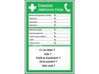 Tabulka - Důležitá telefonní čísla 20 x 30 cm