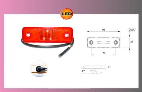 světlo obrys.LED-červ.24V/0,8W +kabel